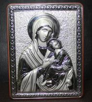 """Посребрено пано - икона """"Богородица с младенеца"""""""