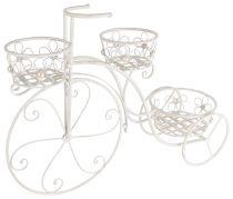 """Металнен цветарник колело """"Цвете"""", бял, 3 саксии"""