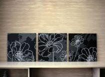 Картниа цветя в бяло и черно 8195 - Pochehli