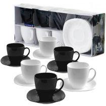 Сервиз за кафе и чай Luminarc Carine, черно-бял, 12 части