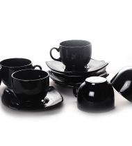 Сервиз за чай Luminarc Quadrato, черен, 12 части
