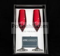 Чаши за шампанско Diamant Red, елементи Swarovski, Diamante Glassware, Словакия