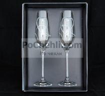Чаши за шампанско Diamant Hearts, елементи Swarovski 6872 - Pochehli