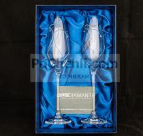 Чаши за шампанско Heart in Heart, елементи Swarovski, Diamante Glassware, Словакия