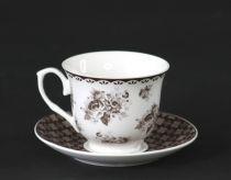 Сервиз за чай Рози в кафяво