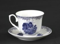 Сервиз за чай и кафе Къща в синьо, порцелан, 12 части
