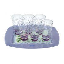 Чаши за вода и безалкохолно + поднос Лавандула, Moda Mostra