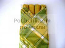 Подложки за хранене + платнени салфетки, каре в жълто и зелено 6045 - Pochehli