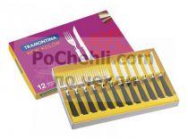 Прибори за хранене с черни дръжки, 12 части, New Kolor Tramontina  7391 - Pochehli