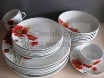 Сервиз за хранене Цъфнали макове в червено, 30 части 8240 - Pochehli
