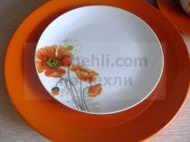 Сервиз за хранене Цъфнали макове в оранжево, 30 части 37449